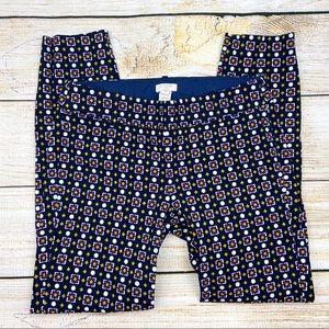 J CREW Winnie Capri Side Zip Geometric Print Pants